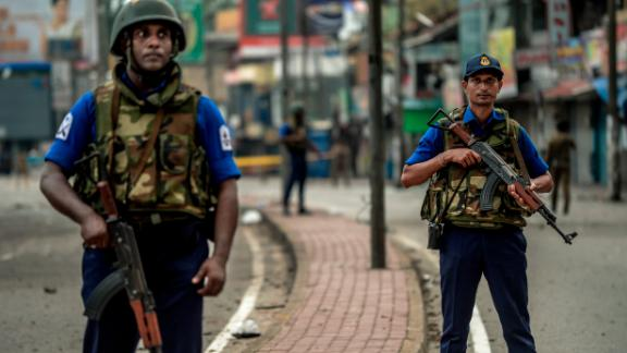 Sri Lankan security personal patrol in Colombo on April 23, 2019, two days after bomb attacks at churches and hotels left more than 250 people dead.