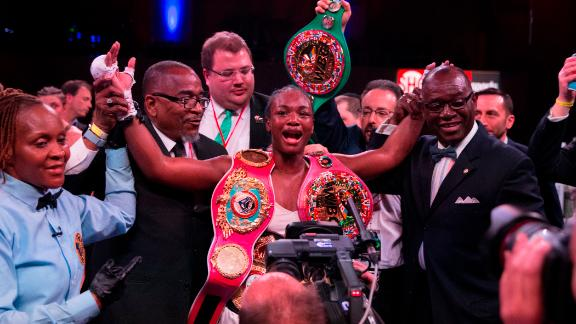 Claressa Shields celebrates defeating Christina Hammer in Atlantic City, New Jersey