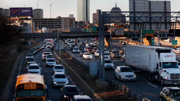 BOSTON, MA - FEBRUARY 11: Traffic is bumper to bumper on I-93 headed South coming out of Boston on Feb. 11, 2019. Gridlock during the peak of the morning and evening commutes was worse in Boston in 2018 than in any other major metropolitan area, even Los Angeles with its infamous traffic, according to a report from Inrix, a transportation data firm that publishes annual rankings of congestion around the world. (Photo by Jessica Rinaldi/The Boston Globe via Getty Images)