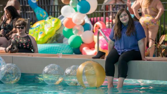 Annie (Aidy Bryant) at the 'Fat Babe Pool Party' in 'Shrill.'