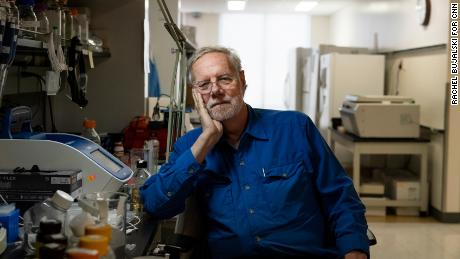 Ron Davis sits in the Stanford Genome Technology Center, the lab he's directed since 1994.