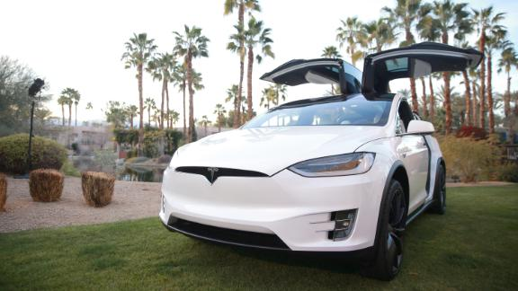 A Tesla Model X is displayed in Indian Wells, California.