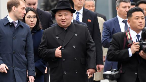 North Korean leader Kim Jong Un upon arrival at the railway station in the far-eastern Russian port of Vladivostok on April 24, 2019.