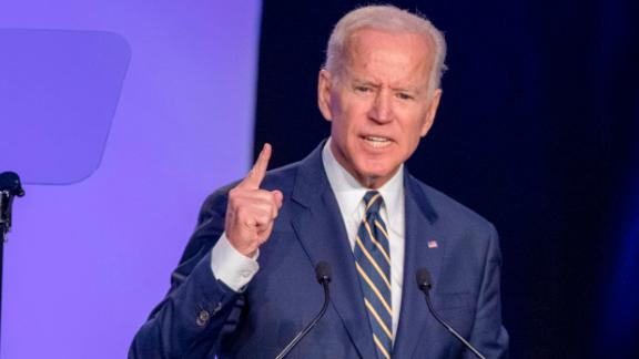 "WASHINGTON, DC - APRIL 05: Former Vice President Joe Biden  speaks at the International Brotherhood of Electrical Workers Construction and Maintenance conference on April 05, 2019 in Washington, DC. Former Vice President Joe Biden on Friday called President Donald Trump a ""tragedy in two acts"" for the way he characterizes people and is consumed with personal grievances. (Photo by Tasos Katopodis/Getty Images)"
