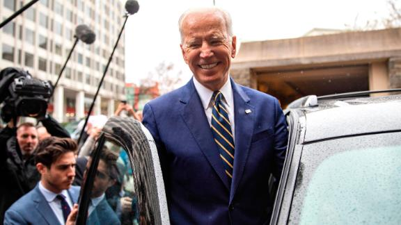 """WASHINGTON, DC - APRIL 05: Former Vice President Joe Biden  waves to supporters at the International Brotherhood of Electrical Workers Construction and Maintenance conference on April 05, 2019 in Washington, DC. Former Vice President Joe Biden on Friday called President Donald Trump a """"tragedy in two acts"""" for the way he characterizes people and is consumed with personal grievances. (Photo by Tasos Katopodis/Getty Images)"""