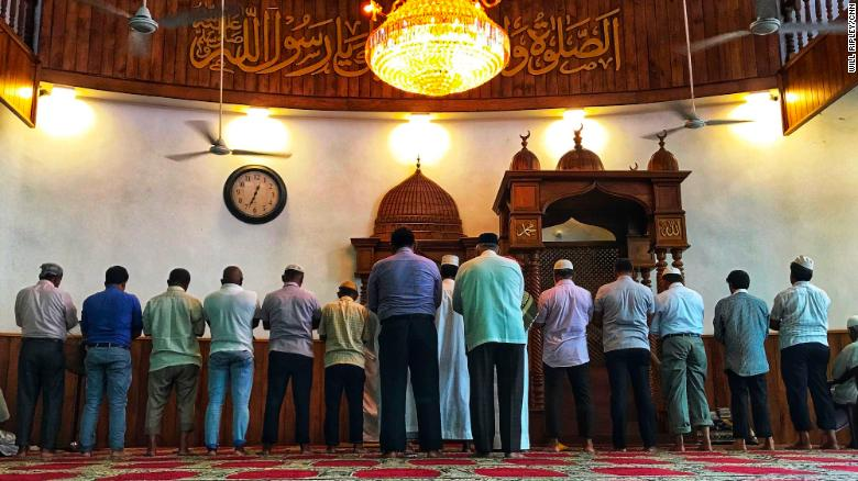 Worshipers pray at the Dewatagaha Mosque in Colombo, Sri Lanka, on April 24, 2019.
