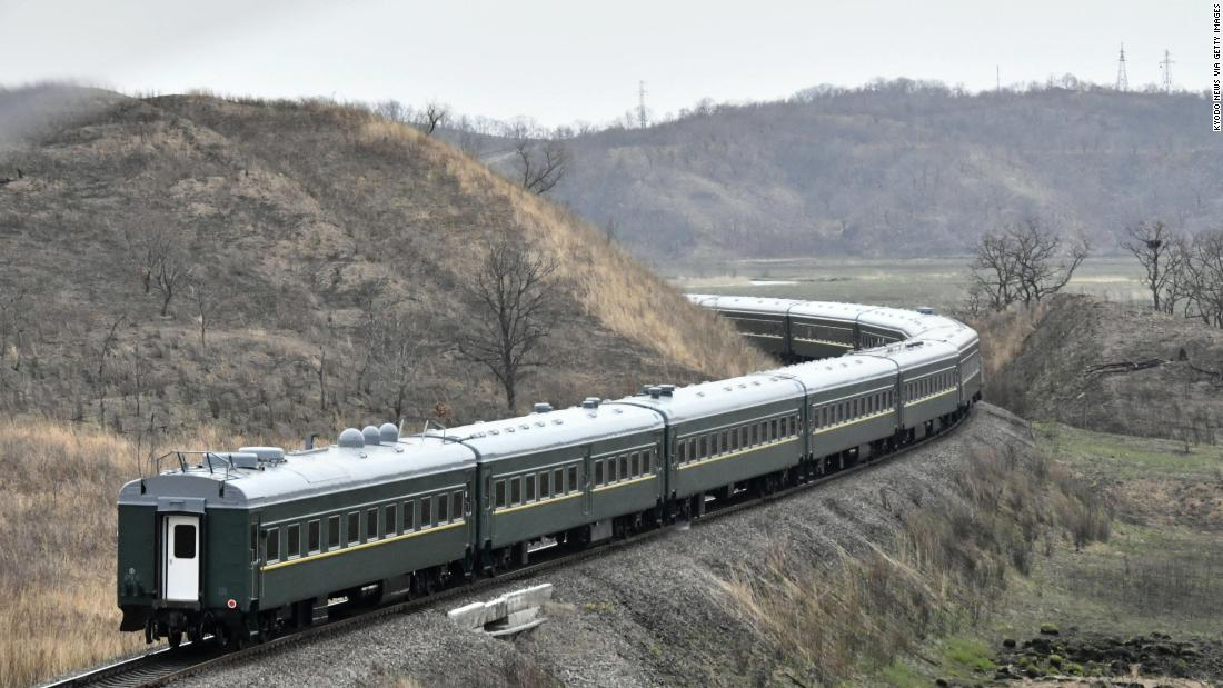 A train carrying North Korean leader Kim Jong Un runs in Khasan, a Russian border city with North Korea, on Wednesday, April 24, on its way to Vladivostok where Kim will hold his first summit with Russian President Vladimir Putin.