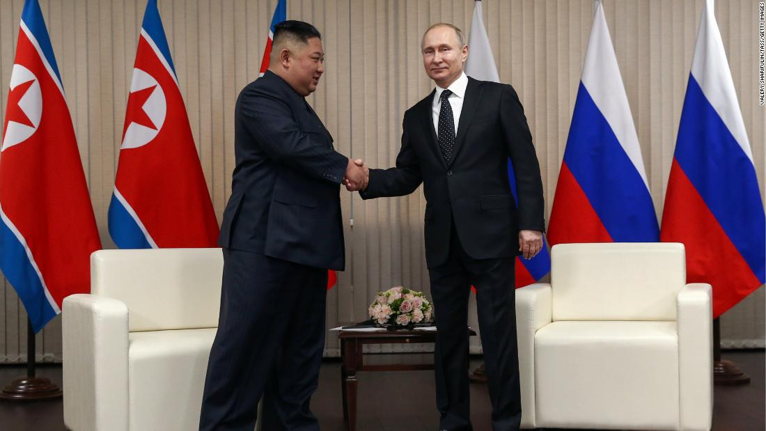 North Korean Leader Kim Jong Un, left, and Russia's President Vladimir Putin shake hands during a meeting at the Far Eastern Federal University (FEFU) on Russky Island, on Thursday, April 25.