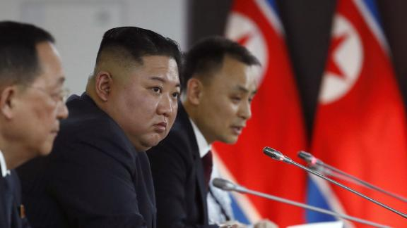 Russian President Vladimir Putin, North Korean leader Kim Jong Un and members of the delegations hold talks at the Far Eastern Federal University campus on Russky island in the far-eastern Russian port of Vladivostok on April 25, 2019.
