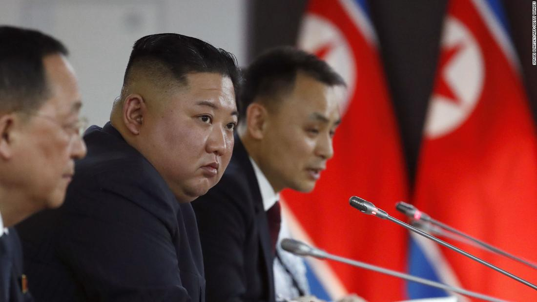North Korean leader Kim Jong Un and members of the Russian and North Korean delegations hold talks at the Far Eastern Federal University campus on Russky Island in the far-eastern Russian port of Vladivostok on Thursday, April 25.