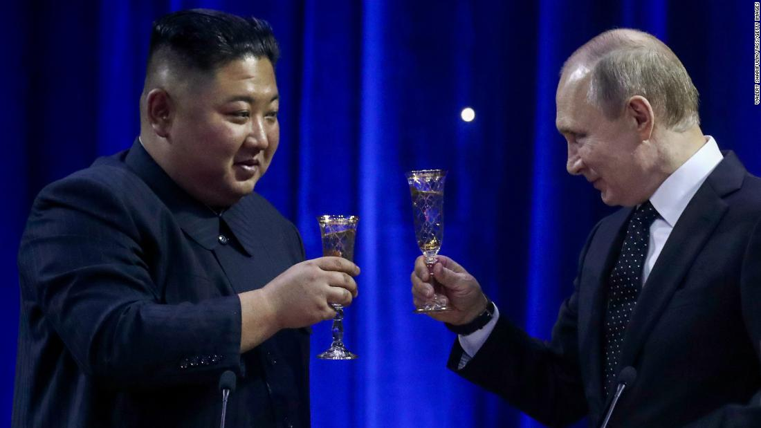 North Korean leader Kim Jong Un, left, and Russia's President Vladimir Putin during a reception on behalf of Russia's President following Russian and North Korean talks at the Far Eastern Federal University (FEFU) on Russky Island on Thursday, April 25.