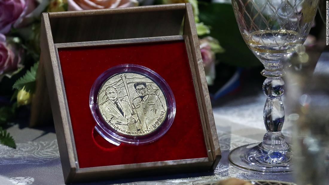 A commemorative medal during a reception on behalf of Russia's President Vladimir Putin following Russian and North Korean talks at the Far Eastern Federal University (FEFU) on Russky Island on Thursday, April 25.