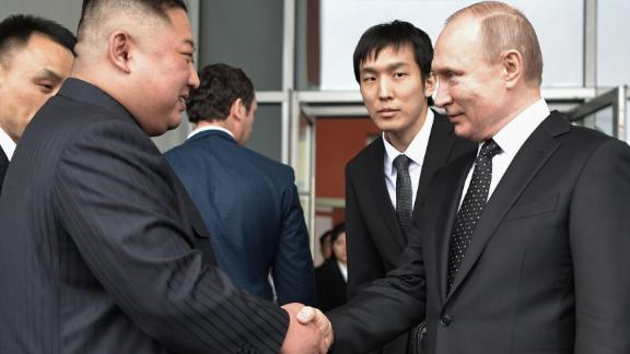 Russian President Vladimir Putin shakes hands with North Korean leader Kim Jong Un following their talks in Vladivostok on Thursday.