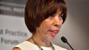 BOSTON, MA - JUNE 08: Baltimore Mayor Catherine Pugh speaks at a session on Housing Affordbility the US Conference of Mayors on June 8, 2018 in Boston, Massachusetts. (Photo by Paul Marotta/Getty Images)