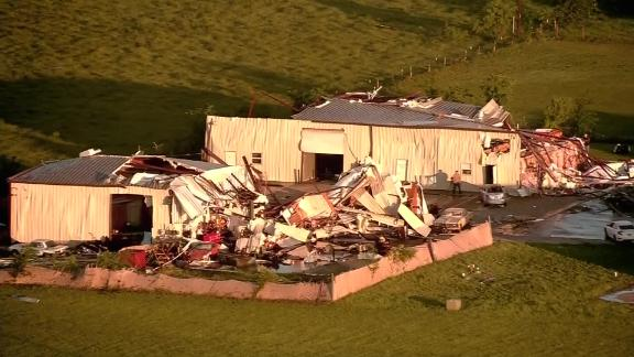 Aerial footage shows damage in the area of Bryan, Texas, on Thursday.
