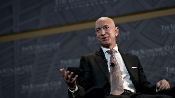 Jeff Bezos, founder and chief executive officer of Amazon.com Inc., speaks during an Economic Club of Washington discussion in Washington, D.C., U.S., on Thursday, Sept. 13, 2018. Photographer: Andrew Harrer/Bloomberg via Getty Images
