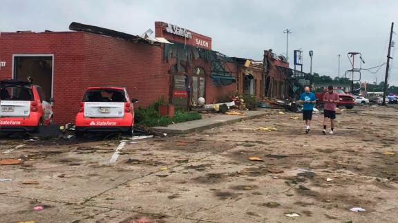 This strip mall in Ruston, seen here Thursday morning, was devastated.
