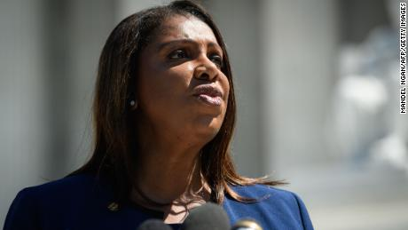 New York Attorney General Letitia James speaks to reporters outside of the US Supreme Court in Washington, DC on April 23, 2019. - In March 2018, US Secretary of Commerce Wilbur Ross announced he was going to reintroduce for the 2020 census a question on citizenship abandoned more than 60 years ago. The decision sparked an uproar among Democrats and defenders of migrants -- who have come under repeated attack from an administration that has made clamping down on illegal migration a hallmark as President Donald Trump seeks re-election in 2020. (Photo by MANDEL NGAN / AFP)        (Photo credit should read MANDEL NGAN/AFP/Getty Images)