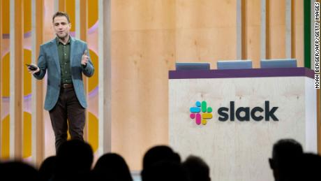 Slack CEO Stewart Butterfield speaks at his companys Frontiers conference at Pier 27 & 29 on April 24, 2019, in San Francisco, California. - Frontiers is an annual conference by Slack (collaboration hub that brings the right people, information, and tools together to get work done) that explores the future of work. (Photo by NOAH BERGER / AFP)        (Photo credit should read NOAH BERGER/AFP/Getty Images)
