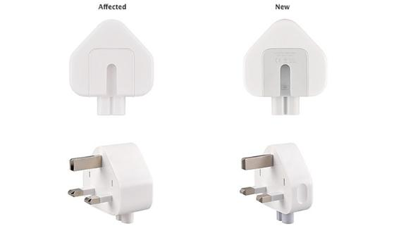 The recall affects the AC wall plug adapter sold with Macs and some iOS devices between 2003 and 2010, and a three-pronged plug included in the World Travel Adapter kit.