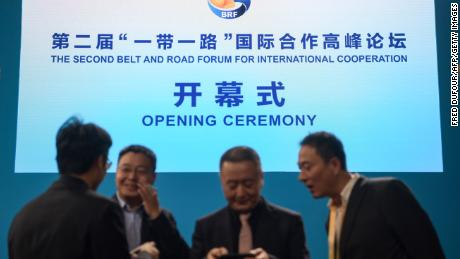 Officials gather near the stage before the opening ceremony of the Belt and Road Forum in Beijing in April 26.