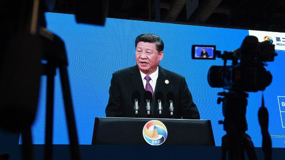 An image of Chinese President Xi Jinping speaking at the opening ceremony of the Belt and Road Forum, is seen in the media center of the Forum in Beijing on April 26, 2019. (Photo by GREG BAKER / AFP)        (Photo credit should read GREG BAKER/AFP/Getty Images)
