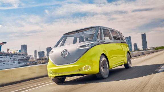 The VW ID Buzz looks like the Microbus beloved by hippies in the 1960s and early '70s.