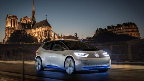 The VW ID, unveiled in Paris in 2016, is about the size of a VW Golf.