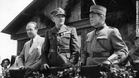 Photo taken during Ryniewicz's visit to one of the camps of Polish soldiers in Switzerland (between 1940-1945) in the capacity of the Head of the Political Division of the Polish Legation (Archivum Helveto-Polonicum, Fribour).