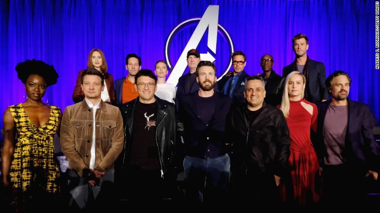 """Pemeran di atas panggung selama Marvel Studios'  """"Avengers Endgame""""  Konferensi Pers Global Junket di InterContinental Los Angeles Downtown pada 7 April 2019 di Los Angeles, California"""