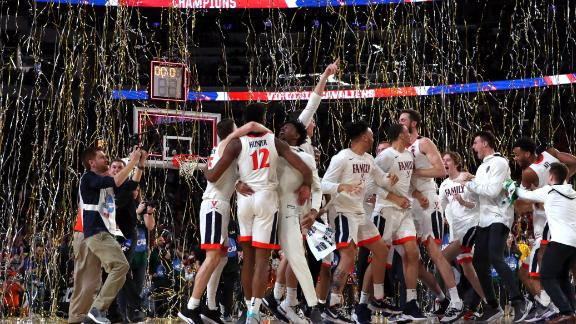 The Virginia Cavaliers celebrate their teams 85-77 win over the Texas Tech Red Raiders to win the the 2019 NCAA men