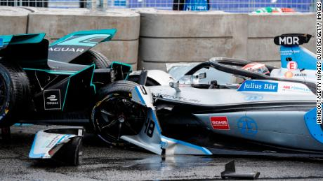 PARIS, FRANCE - APRIL 27: Alex Lynn (GBR), Panasonic Jaguar Racing, Jaguar I-Type 3, crashes into the barrier with Edoardo Mortara (CHE) Venturi Formula E, Venturi VFE05 rear ended him on April 27, 2019 in Paris, France. (Photo by FIA ABB Formula-E Handout/Getty Images)