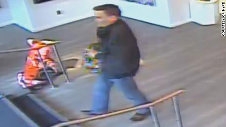 Surveillance cameras caught a man walking out of a New York City art gallery with a $16,000 sculpture.