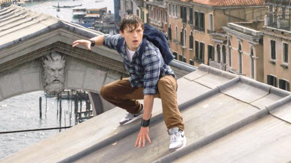 """Tom Holland as Peter Parker in the upcoming """"Spider-Man: Far From Home."""""""