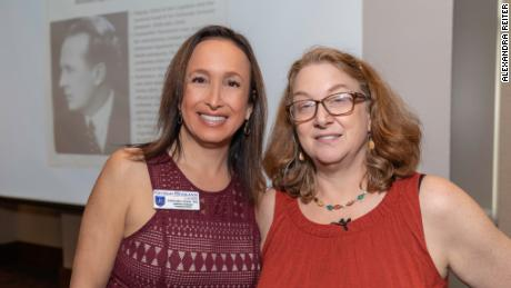 Alexandra Reiter (formerly MacMurdo), left, and Heidi Fishman, right, speaking at Georgia Highlands College where Reiter is a professor.