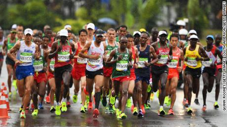 Athletes compete in the marathon at the 2016 Rio Olympics.