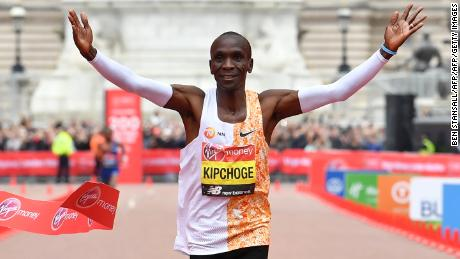Kenya's Eliud Kipchoge wins his fourth  London Marathon in a course record time.
