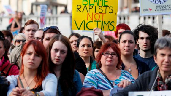 Women protest against British rape laws in London in 2012.