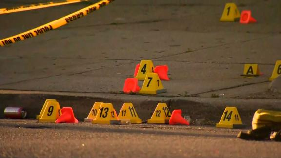 Police say two sets of bullet casings were found at a shooting scene in Baltimore.