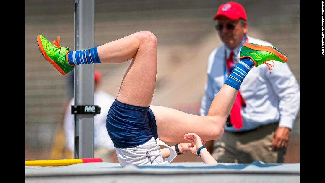 Taylor Wiederrecht, from Messiah College, lands after failing to clear the bar during the high jump of the women's heptathlon during the Penn Relays athletics competition at the University of Pennsylvania in Philadelphia on Tuesday, April 23.