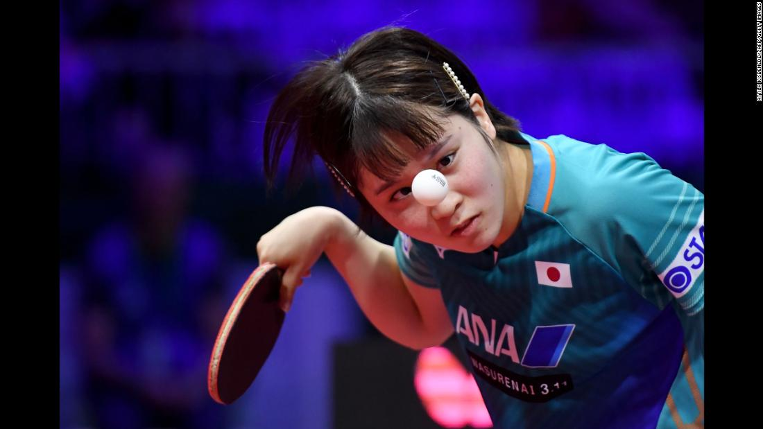 Japan's Miu Hirano serves to Canada's Mo Zhang during their women's single match at the ITTF World Table Tennis Championships in Budapest on Wednesday, April 24.