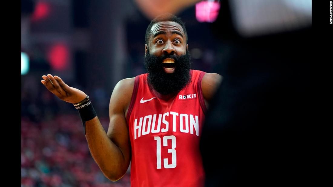 Houston Rockets guard James Harden reacts to an official's call during the first half in Game Five of an NBA basketball playoff series against the Utah Jazz, in Houston on Wednesday, April 24.