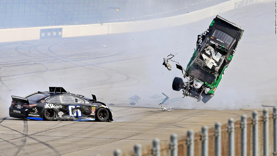 NASCAR Cup Series driver Kyle Larson and NASCAR Cup Series driver Jeffrey Earnhardt wreck during the GEICO 500 at Talladega Superspeedway in Talladega, Alabama, on Sunday, April 28.