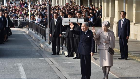 Akihito and Michiko wave after visiting the Jingu shrine in Ise, Japan, in April 2019.