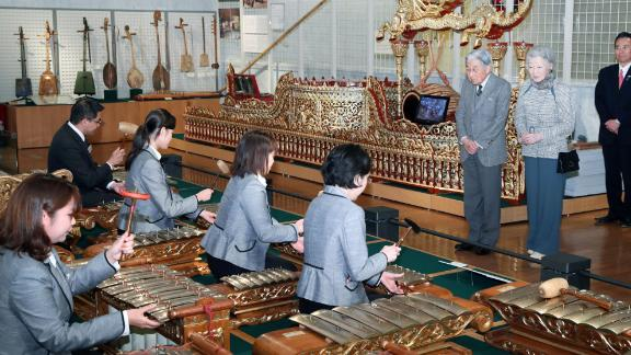 Akihito and Michiko listen to Indonesian percussion music as they attend an event in Hamamatsu, Japan, in November 2018.