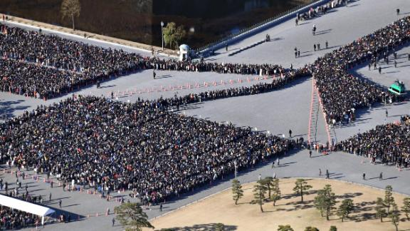 Akihito's final New Year's greetings draws a huge crowd at the Imperial Palace in Tokyo in January 2019.