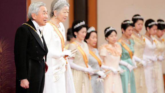 Akihito and Michiko attend a New Year's ceremony in Tokyo in 2011.
