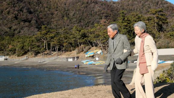 Akihito and Michiko stroll outside the imperial villa in Hayama, Japan, in January 2019.