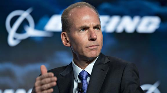 FILE: Dennis Muilenburg, chief executive officer of the Boeing Co., gestures during a discussion at the U.S. Chamber of Commerce aviation summit in Washington, D.C., U.S., on Thursday, March 2, 2017. Boeing Co. Chief Executive Officer Dennis Muilenburg apologized Thursday for the 346 lives lost in crashes of Boeing 737 MAX 8 aircraft in Indonesia and Ethiopia, according to a letter made public on the company's website. Photographer: Andrew Harrer/Bloomberg via Getty Images