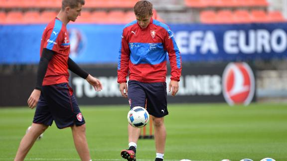 Czech Republic midfielder Sural (C) pictured training for his national team.
